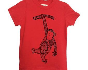 Red Monkey Kids Tshirt Size 2 4 6 American Apparel Cotton T2 T4 T6