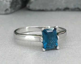 Emerald Cut Natural London Blue Topaz Ring Cathedral 1.00Ct Solitaire Traditional Sterling Silver Women's Engagement Bridal Promise Ring