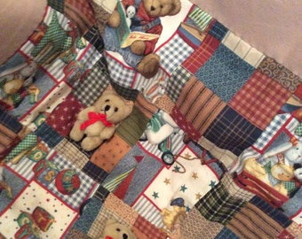 Baby Newborn Quilt with Miniature Bears