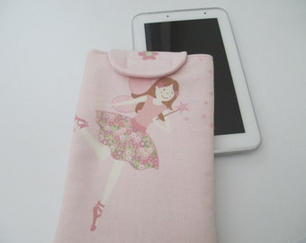 "7"" tablet case in Laura Ashley pink fairy 100% cotton"