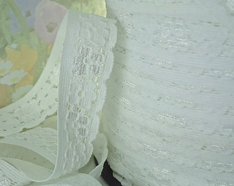 3yds Stretch Lace Ribbon White Elastic Lace Trim 3/4 inch Baby Headbands DIY Wedding Lace,  lingerie Edging