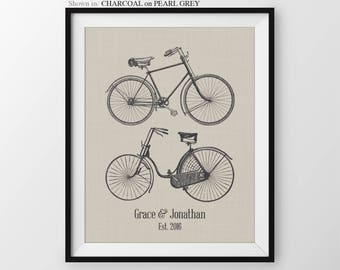 Bicycle Anniversary Gift Wedding Gift Couple Personalized Gift Bachlorette Gift Newly Engaged Gift Newlywed Gift Bachlorette Party Wedding