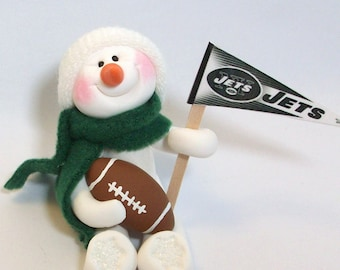 New York Jets  football snowman ornament