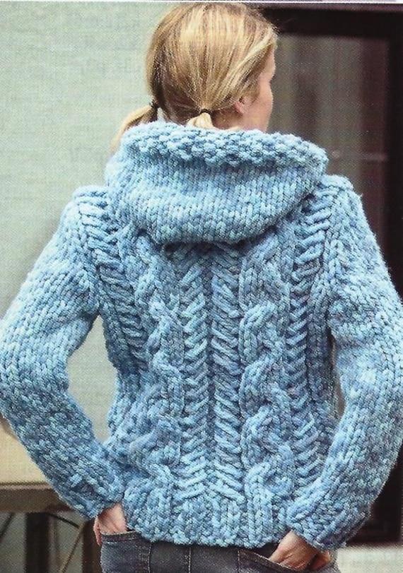 PDF Chunky Cabled Cardigan Knitting Pattern Vintage Retro