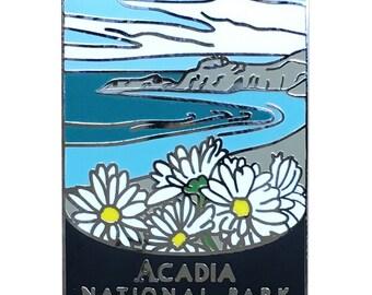 Acadia National Park Maine Pin - Daisies Flowers and Maine Coastline