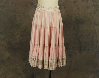 vintage 50s Circle Skirt - Pale Pink Silver Patio Skirt 1950s Country Western Skirt Sz M
