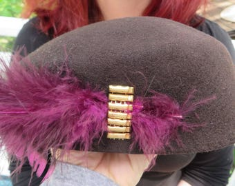 "Vintage Hat Wool ""Belvedere"" Style Beret by Henry Pollak, Co. Fifth Avenue New York   //  Felted Wool  //  Gold Beads and Purple Feathers"