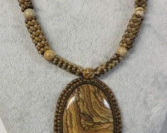 Necklace Beaded Picture Jasper with Picture Jasper Pendant