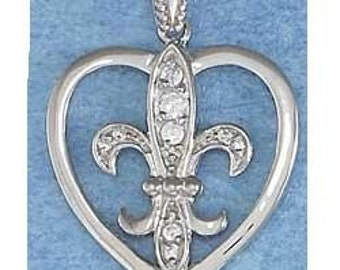 Fleur de Lis Heart with CZ's Sterling Silver Pendant -- Complimentary RIbbon or Cord
