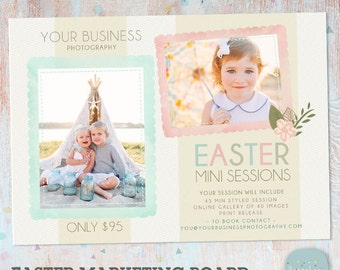 Easter Photography Mini Session Marketing Board - Photoshop template - IE007 - INSTANT DOWNLOAD