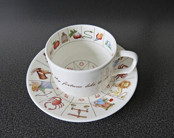 Vintage Delphine Fortune Telling Cup & Saucer, Staffordshire China - Astrology Signs - Tea Leaf Reading Cup and Saucer - Fortune Zodiac Cup
