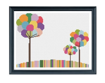 Bubble Trees Cross Stitch Pattern PDF ** Instant Download **