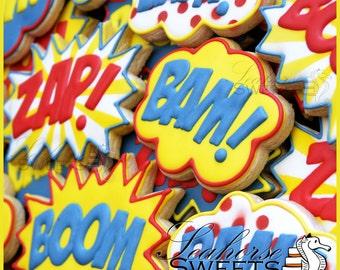 Super Hero Fight Bubble Cookies (quantity: 12) Pow Bam Zap Boom Comic Book