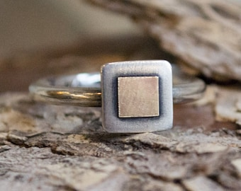 Stacking ring, Silver gold ring, Square ring, Mixed Metals Ring, two tones ring, boho ring, dainty ring, delicate ring - Must know R1382B