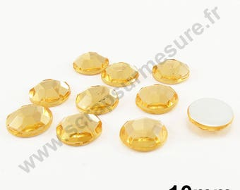 Paste rhinestone round - gold clear - 10mm - x 10pcs