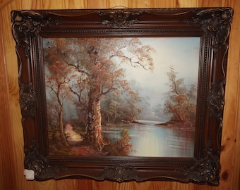 Sublime Nature Painting - Autumn Landscape - French Vintage Framed Painting