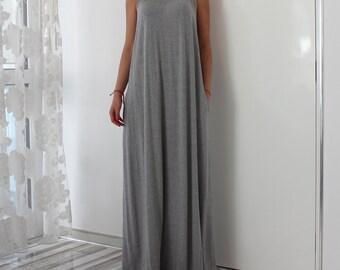 Grey maxi dress/ Grey dress/ A line dress/ Maxi dress/ Long Maxi dress/ Casual dress/ Summer dress/ Maxi dress summer/ Day dress/Strap Dress