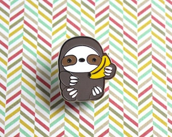 Banana Phone Sloth Enamel Pin, Sloth Pin, Sloth Gift, Kawaii Pin, Cute Pin, Sloth Brooch, Lapel Pin Badge, Sloth Lovers, Banana pin