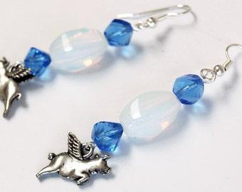Pigs with Wings under Opalite n Blue Earrings, Flying Pig Earrings, Blue and White Dangle Earrings, Flying Pig Earrings, Pigasus Jewelry