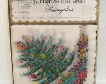 Vintage new old stock rice paper christmas napkins