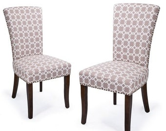 Furnistars Light Brown Floral Living Room Side Chairs / Dining Chair with Birch Legs (Set of 2) - Free Shipping! (CH0170-2)