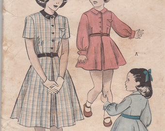 Butterick 5467 Vintage Pattern Girls One Piece Shirt Waist Dress Size 8 Bust 26