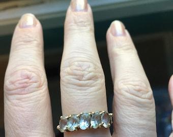 Quartz Crystal Ring - 10K Gold - Eternity Ring - Vintage