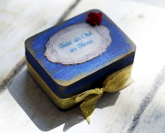 Beauty and the Beast Wedding Rings Box Red rose Ring bearer