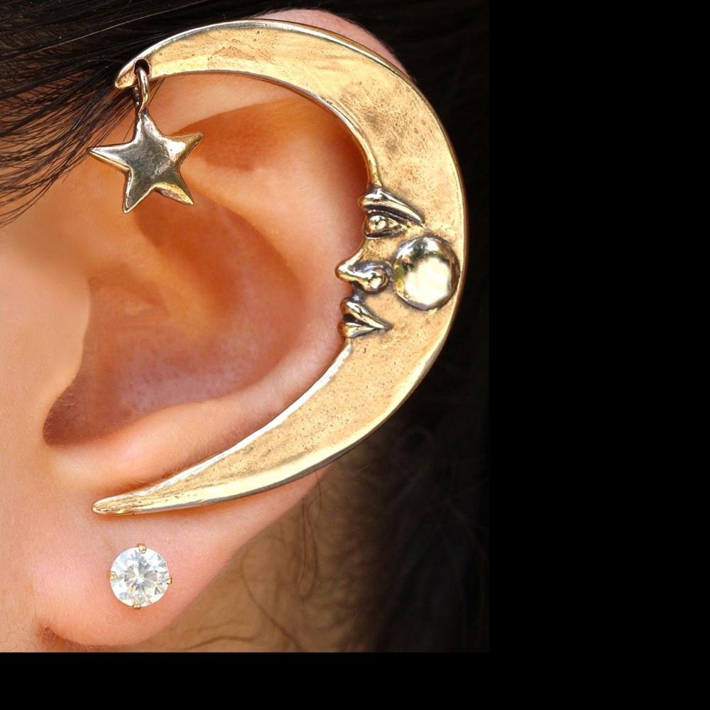 Bling Jewelry Celestial Moon and Stars Sterling Silver Cuff Ear Band Earring iZ1OL