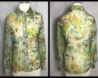 Lady Manhattan Sheer Button Front Blouse with Butterfy Print in Muted Green and Brown - Size Small