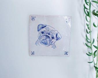 Handmade stoneware tile pug