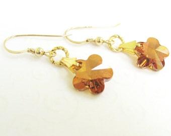 Crystal Flower Earrings, Copper Crystal Swarovski Elements, Flower Dangle Earrings, Drop Earrings, Flower Jewelry, Summer Jewelry