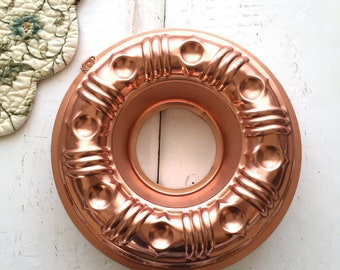 Round Copper Jello Mould, Round Copper Jello Mold, Vintage Copper Jello Mould, Copper Bundt Pan, Hole In Middle,
