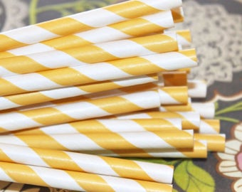 Yellow Paper Straws, Paper Drinking Straw, Party Straws, Striped Straws, Wedding Straws, Retro Paper Straws,  Drinking Straws, Made In USA