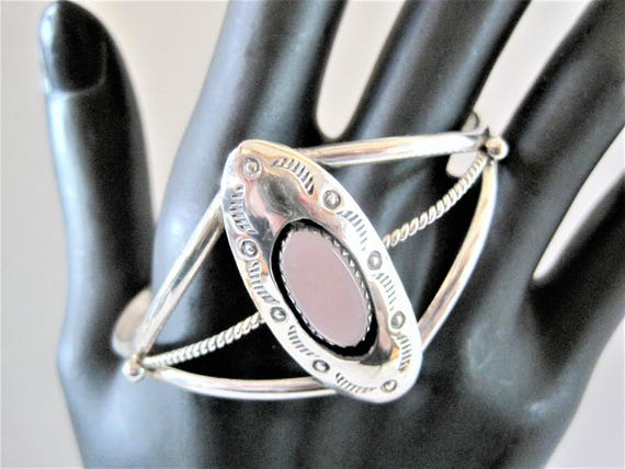 Sterling Bracelet, Native American Symbols, Mother of Pearl Setting, Old Pawn Cuff Bracelet