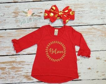 Believe Christmas Shirt for Girl Red Ruffles   Christmas Gift for Girls   Toddler Christmas Gift   Christmas Gift Ideas for Girls   350