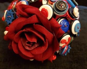 Red white & blue button bouquet