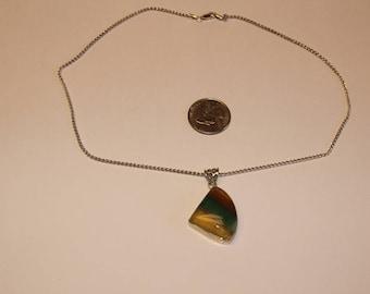 """Vintage sterling silver Florite 18"""" necklace baek"""