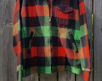 Vintage Wool Coat Jacket Chill Chaser by Blue Top Plaid Stadium Jacket