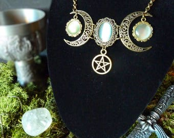 Antique Bronze necklace Pagan old-fashioned medieval white gift set vintage three moon Crescent Lunar moon Pentagram
