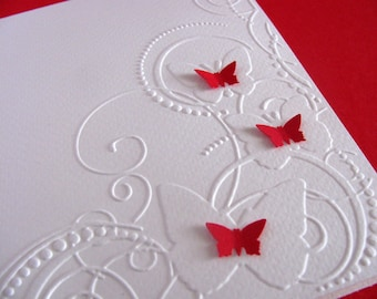 Embossed Butterflies on Creamy Ivory Card. 3D Mini Butterflies in Red, Turquoise, Pinks or YOUR Colour Choice. A2 Size. Made to Order