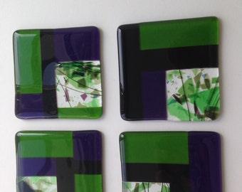 Fused Glass Coasters Block design