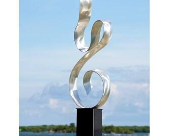 SALE! Large Silver Modern Metal Art Statue, Decorative Indoor Outdoor Metal Sculpture, Handcrafted Garden Decor - Serenity by Jon Allen