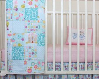 Girl Blue Crib Set/ Princess Bedding/ Fairytale Bedding/ Once Upon a Time/ Blue and Pink Crib Set/ Ruffle Crib Skirt/ Pink Crib Sheet