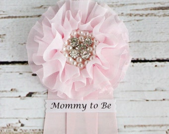 Pink Baby Shower Corsage Pin with Mommy to Be, Grandma to Be, Bride to Be, and other Custom Tags