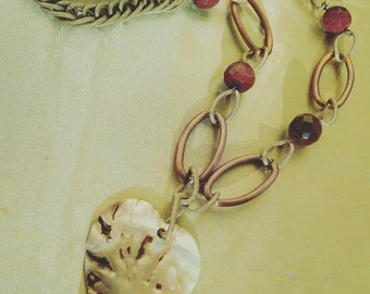 Mother of Pearl Heart Necklace and Sun stones