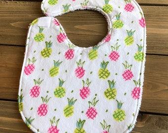 Baby Bib - Pineapple Print Bib - Baby Shower Gift - Cotton Bib