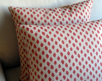 PAIR Coral Ikat pillow covers 18x18 20x20 22x22 24x24 26x26