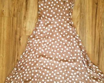 Light Weight Spring Polka Dot Tan Dress