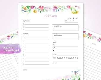 PRINTABLE DAILY PLANNER Editable Fields, To Do List Watercolor Wild Flowers Gratitude Daily Affirmations To-dos Track Water Food Exercise